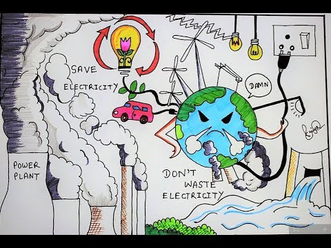 How To Draw Save Electricity Poster Youtube
