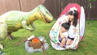 恐竜 出現 ぽぽちゃん おうち キャンプ ねんど で キャンプファイヤー dinosaur play doh campfire picnic