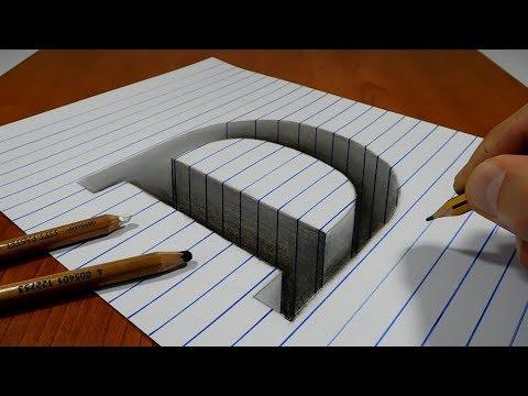 Draw a Letter D Hole on Line Paper   3D Trick Art