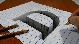 Draw a Letter D Hole on Line Paper   3D Trick Art