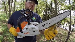 Should you Buy a Battery Powered Chainsaw? Stihl MSA 120 C Raw Review in the woods
