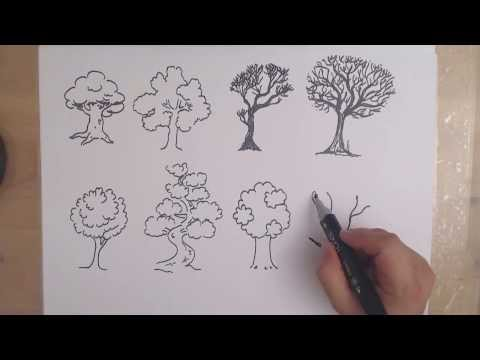 How to draw a TREE - 8 DIFFERENT WAYS drawing trees