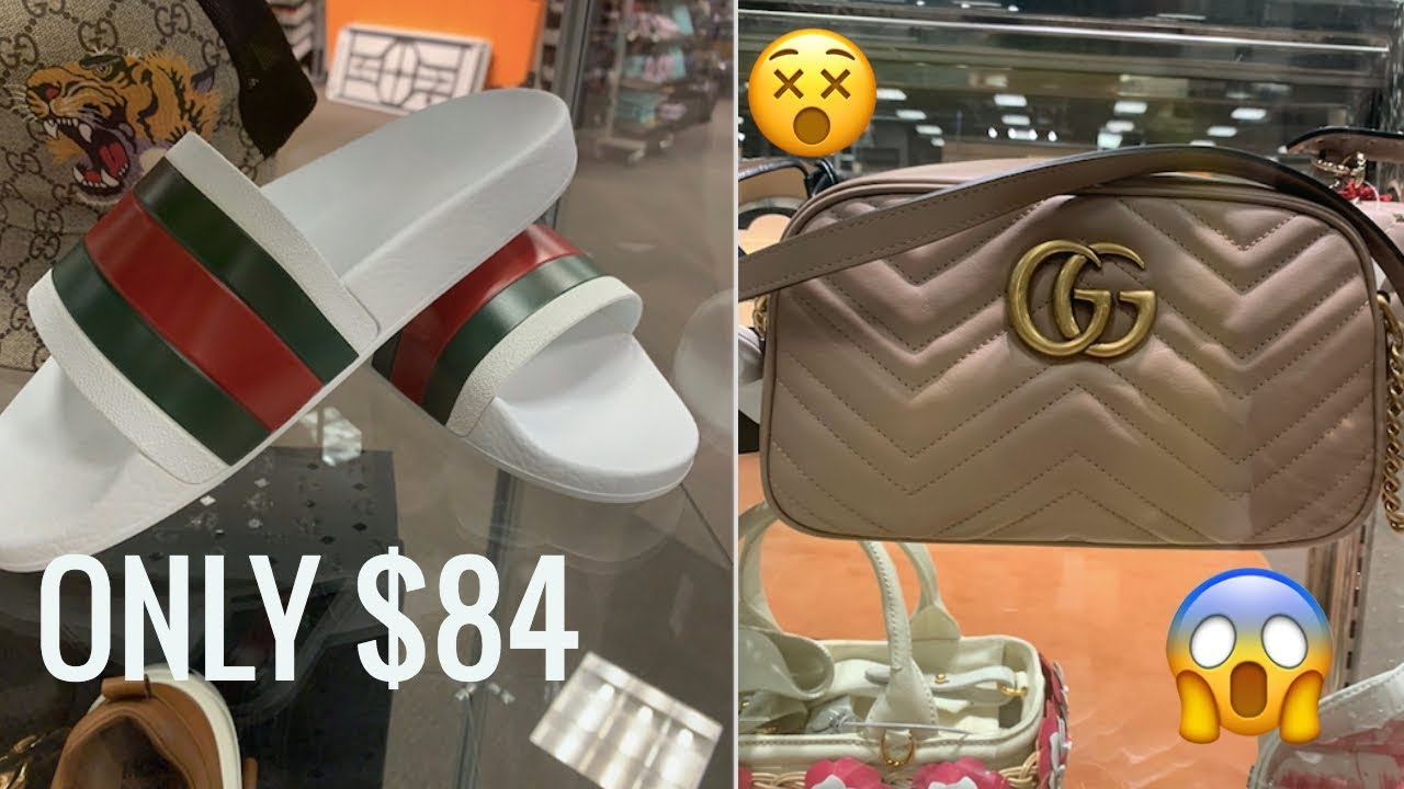 cffdb8466 $84 GUCCI SLIDES! OUTLET SHOPPING! - YouTube