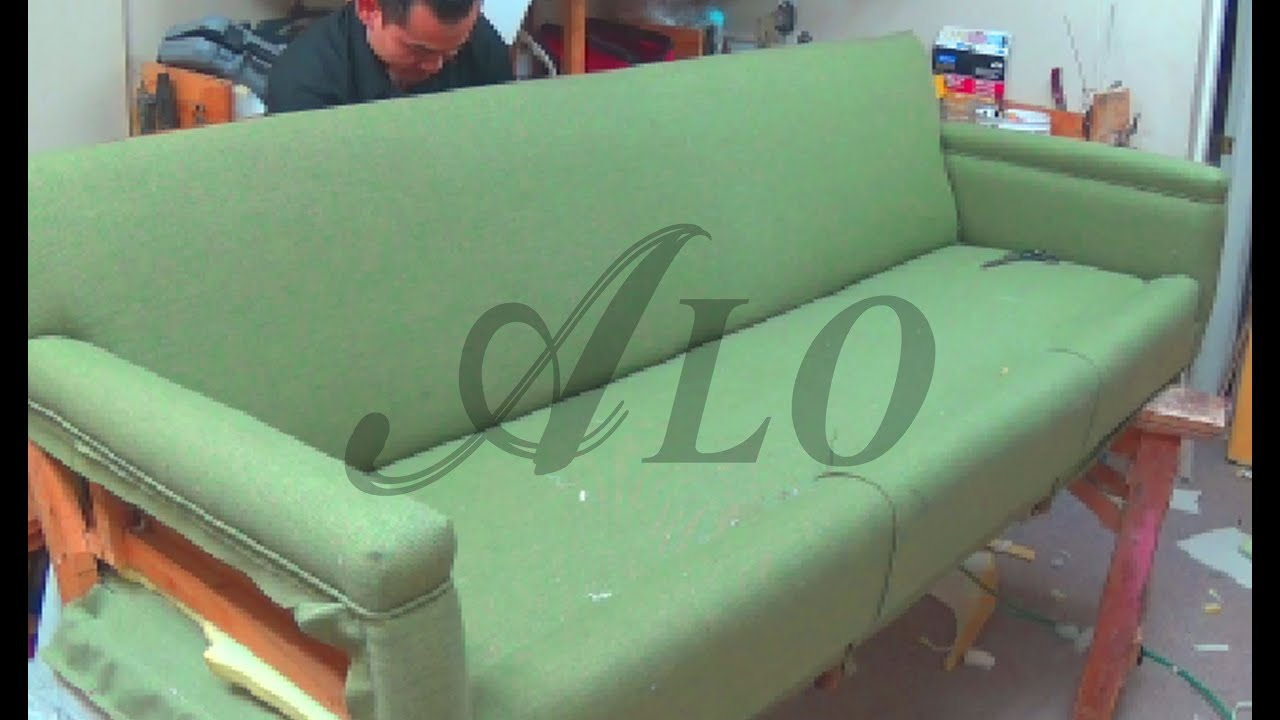DIY: HOW TO REUPHOLSTER A SOFA   ALO Upholstery   YouTube