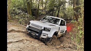 New Defender Off Road and On Road Test Drive at Land Rover Experience Eastnor Great Britain.