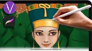 ✨Рисование с нуля - Нефертити. ✨Рисуем на ipad в Procreate. Иллюстрация/ урок рисования/ digital art
