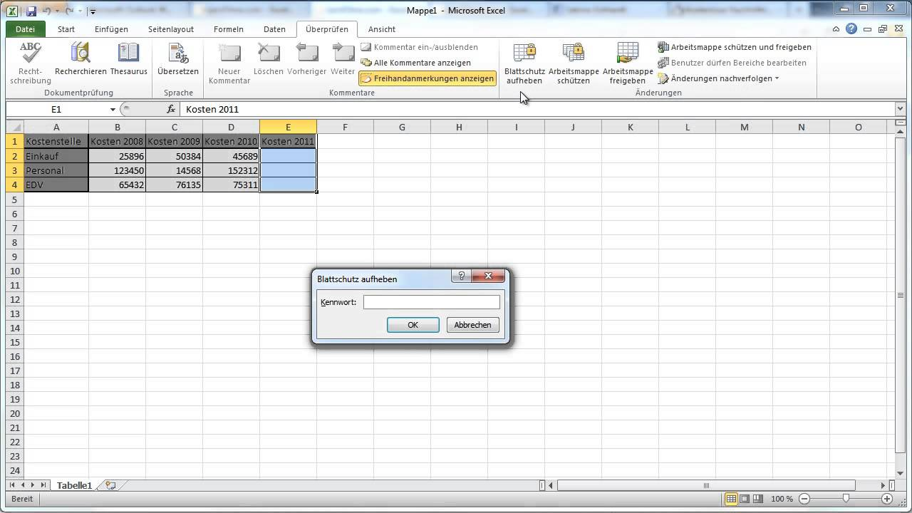 Excel 2010 - Arbeitsblätter schützen - YouTube