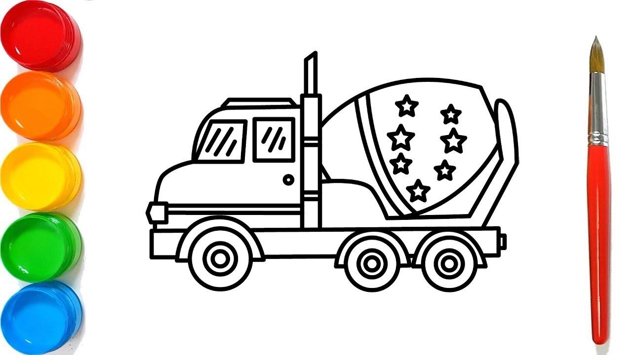 Como Dibujar La Maquina Voladora: Como Dibujar Y Colorear Un Camión Mezclador De Concreto