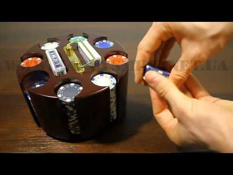 Покер набор на 200 фишек с вращающейся деревянной подставкой от Happysmile.net.ua