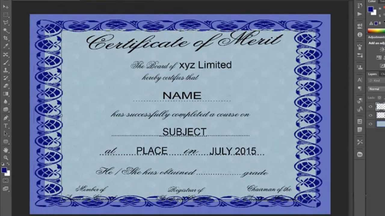 How to design a certificate in photoshop with esubs youtube yadclub Gallery