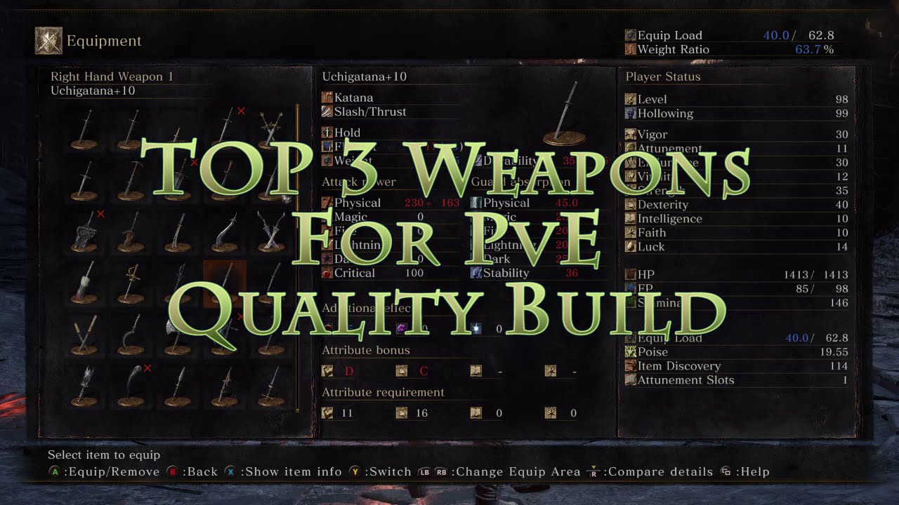Best Weapon Quality Build Dark Souls