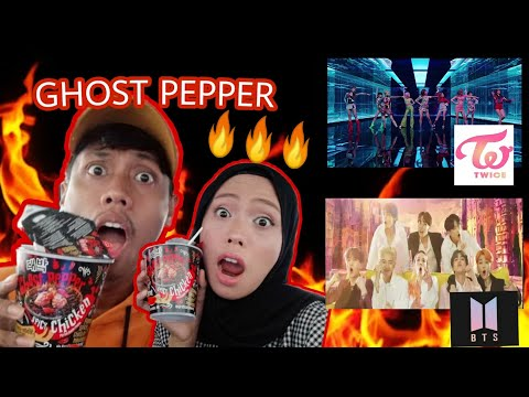 GHOST PEPPER CHALLENGE + REACTION BTS - BOY WITH LUV // TWICE - FANCY