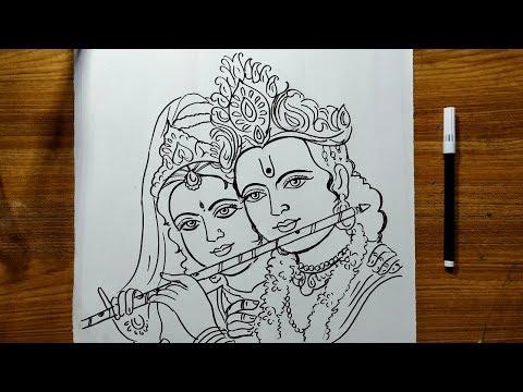 Radhastami Special Radha Krishna Drawing How To Draw Lord Krishna And Radha Lord Krishna Drawing Youtube