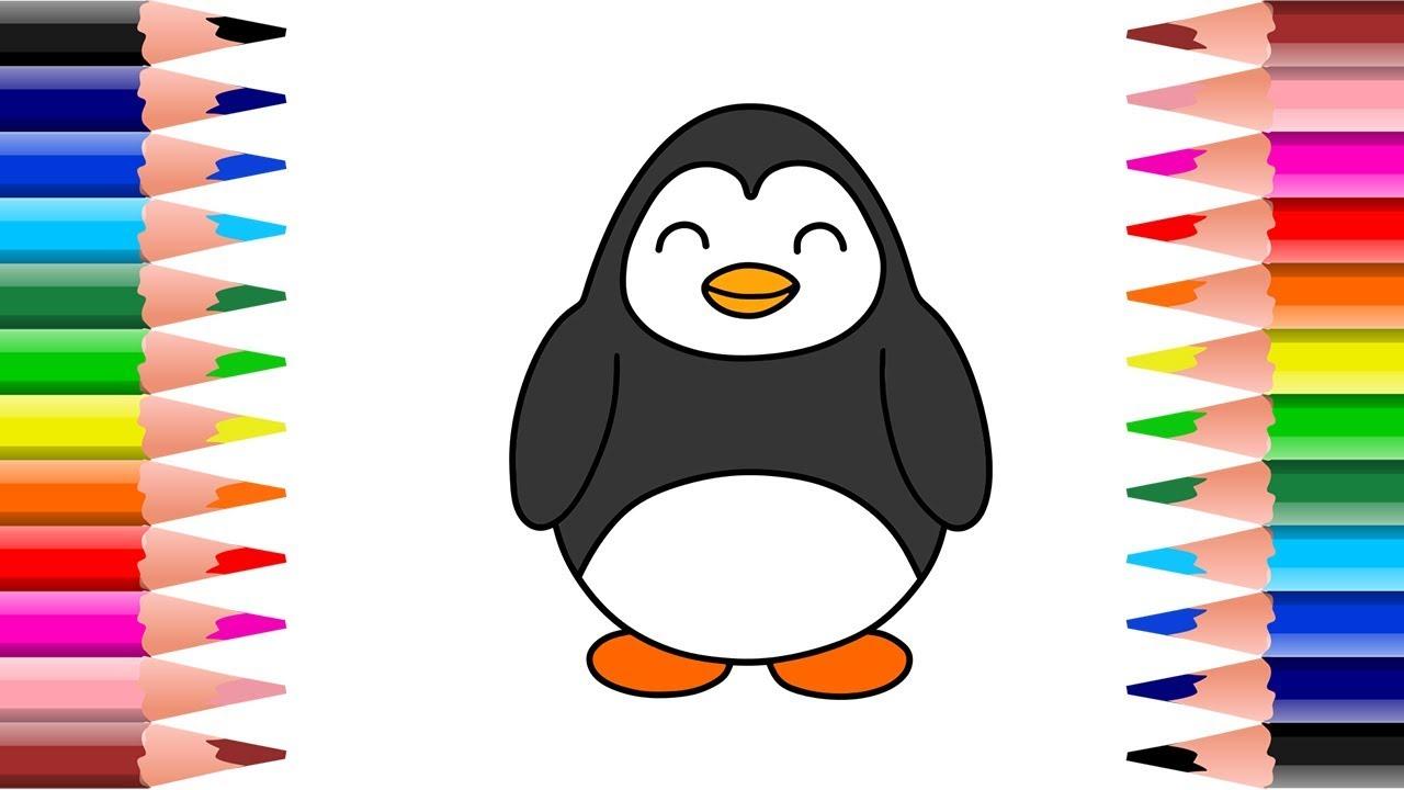 Cara Mudah Menggambar Dan Mewarnai Pinguin