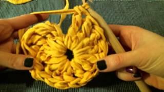 Вязаное сердце. Вязание крючком из трикотажной пряжи. Мастер-класс