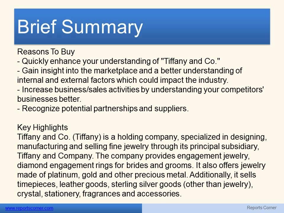 executive summary for tiffany and co