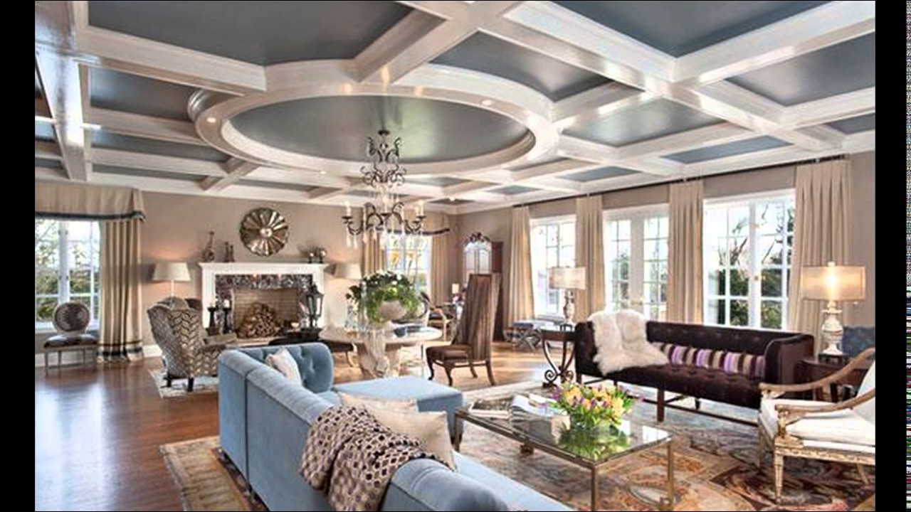 15 living rooms with coffered ceiling designs youtube - Pictures of living room designs ...