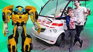 Игры с Трансформерами – Что случилось с Бамблби в Мастерславле? – Машинки в видео для детей .