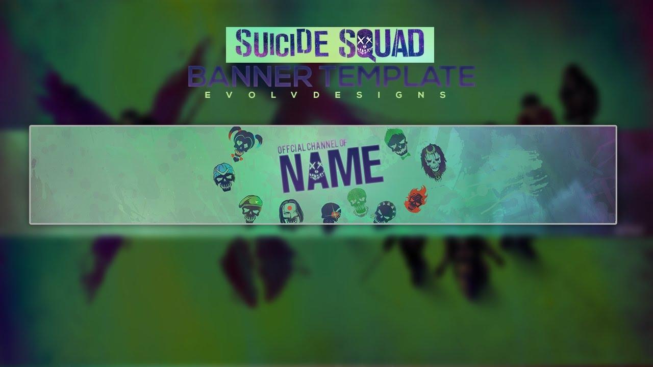 suicide squad youtube banner template youtube. Black Bedroom Furniture Sets. Home Design Ideas