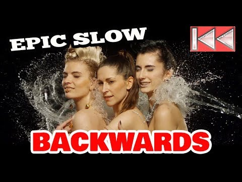 Epic Video Backwards in Slow Motion. Models in Colour and Water Explosion. HD