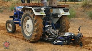 Crazy people failS .motercycle vs tractors