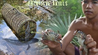 Primitive Skills Making a Fish Trap Box From Bamboo |  Survival Skills |  Primitive Survival Skills