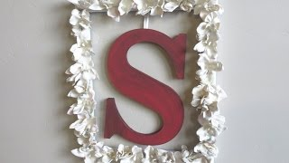 Diy Flowers & Monogram Picture Frame Wall Art - Plaster Of Paris
