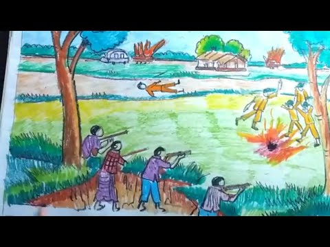 How To Draw Scenery OF Independence Day 26 March/ Liberation War/ Freedom Fighter Of Bangladesh