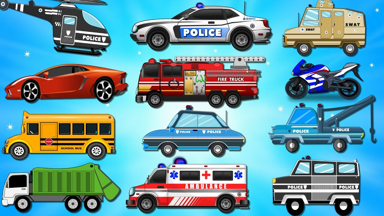 police car wash bike chase videos for children kids videos learn vehicles