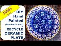 DIY hand painted hanging Plate | Blue pottery painting | Ceramic plate painting