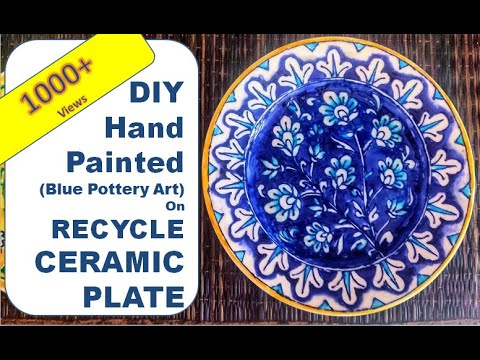 Diy Hand Painted Hanging Plate Blue Pottery Painting Ceramic Plate Painting Youtube