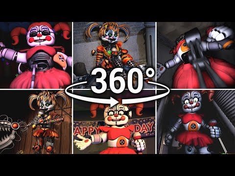 360°| Circus/Scrap Baby Compilation!! - Five Nights at Freddy's [SFM] (VR Compatible)