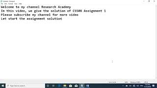 CS508 Assignment 1 Solution FALL 2019