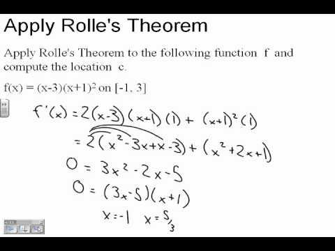 Calculus 5.2 Rolle's Theorem and the Mean Value Theorem Part 1 - YouTube