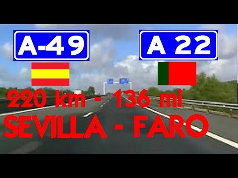 km a a european route e timelapse seville spain to faro portugal