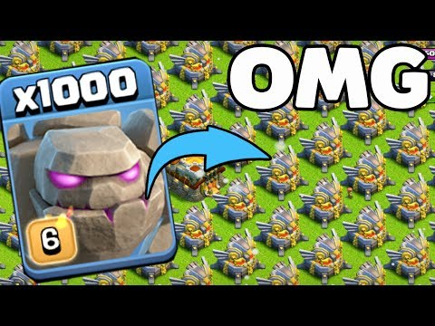 1000 Max Golem VS 500 Max Eagle Artillery Attack GamePlay | COC Mod server