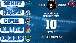 Футбол РПЛ 10 Тур Чемпионат России Сезон 2021 2022 Результаты Расписание Таблица