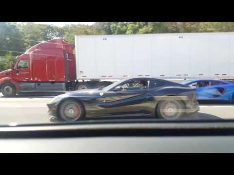 Ferrari F12 VS Lamborghini Aventador on I495 !!!!!!!!!!