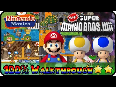Newer Super Mario Bros. Wii - Full Game (All Worlds 100% Walkthrough Multiplayer)