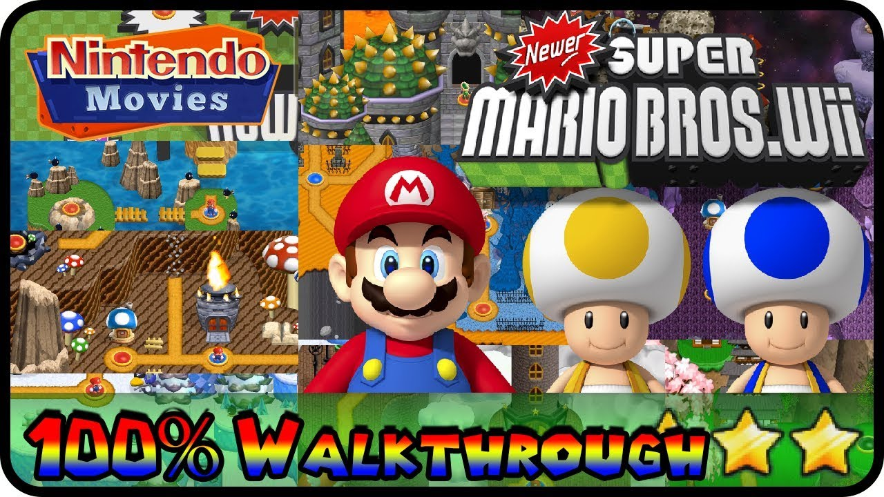 Newer Super Mario Bros Wii Full Game All Worlds 100