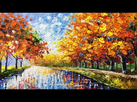 Autumn Beauty Palette Knife Acrylic Painting