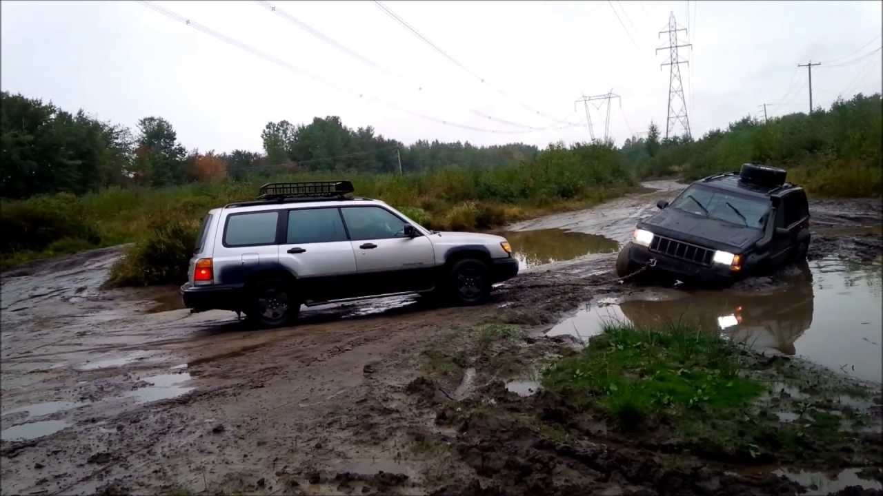 Jacked Up Subaru Forester >> SUBARU rescues Jeep ZJ - YouTube