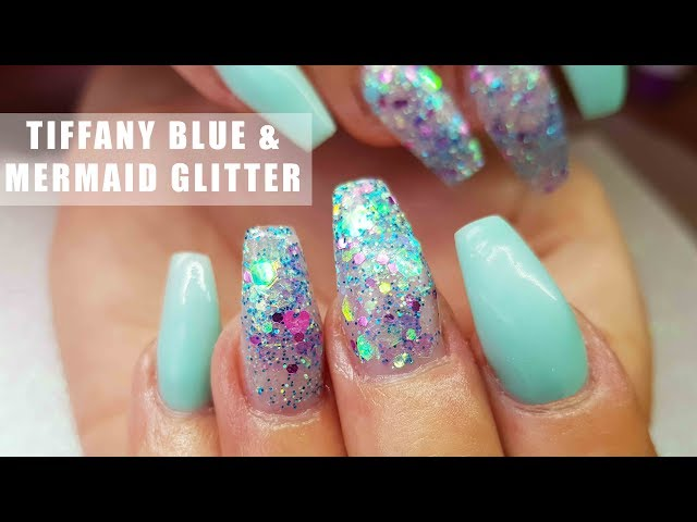 Acrylic Nails Tiffany Blue And Chunky Mermaid Glitter Nail Art Youtube