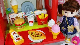 Food car and baby doll hamburger kitchen cooking story music play - ToyMong TV 토이몽