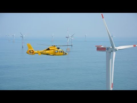 Helicopter Crew Transfers at Offshore Wind Farm
