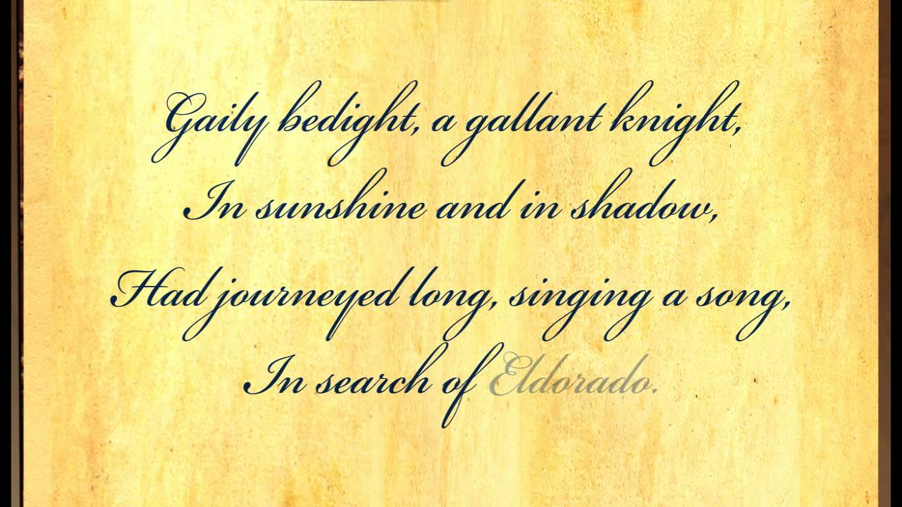 Eldorado by Edgar Allan Poe - Poetry Reading - YouTube