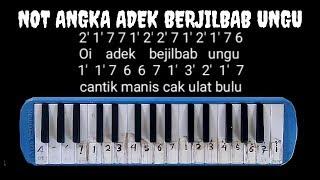 Not Pianika Adek Berjilbab Ungu  (Not Angka)