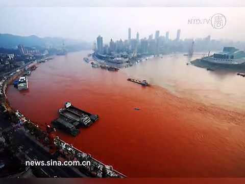 Yangtze River Turns Blood Red in Chongqing, China