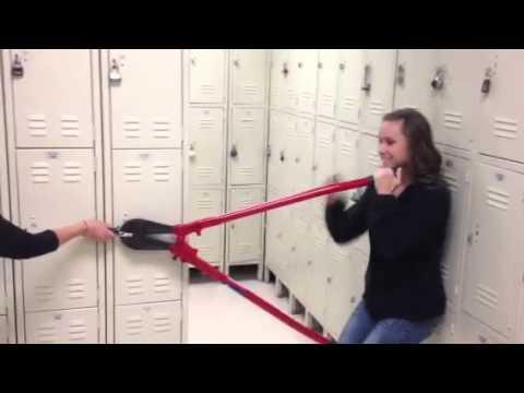 Jess trying to cut lock