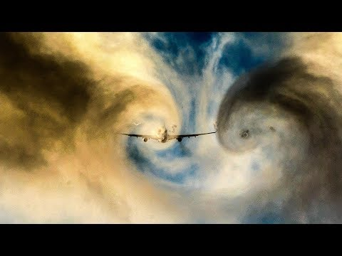 AIRBUS A330 CLOUD CUTTING - Visible wake turbulence VORTEX effects (4K)